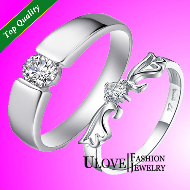 Women Men Cool Silver Plated Rings Accessories Couple Ring Antique Wedding Finger Sets Angel Wing Zircon CZ Simulated Stone Gift
