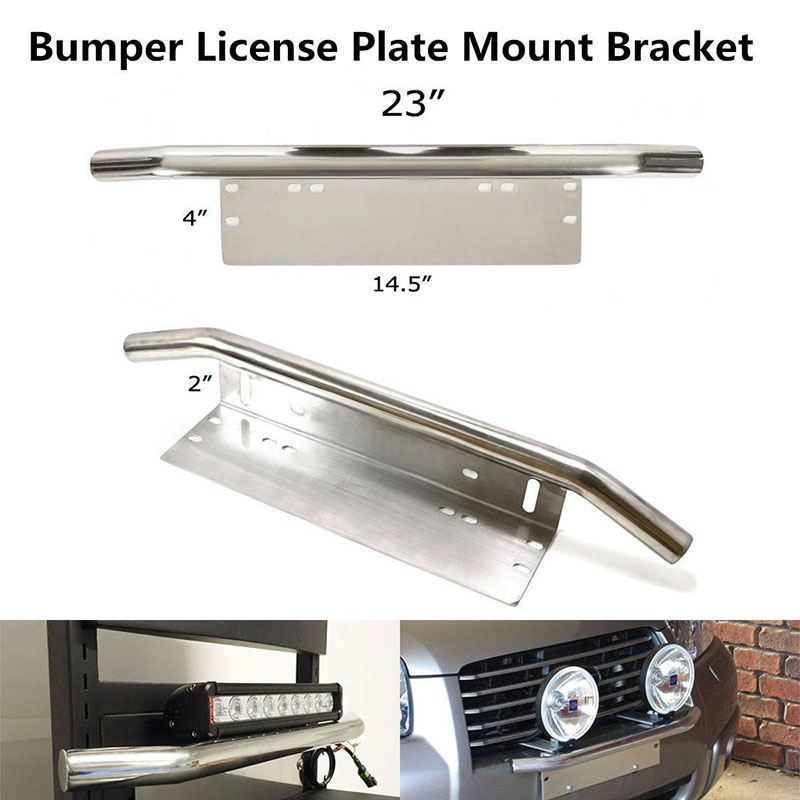 23 Chrome Plated Front Bumper License Plate Mount Bracket Working Lamp Holder for SUV Cars Suitable Most Vehicles 23*4*2 inches