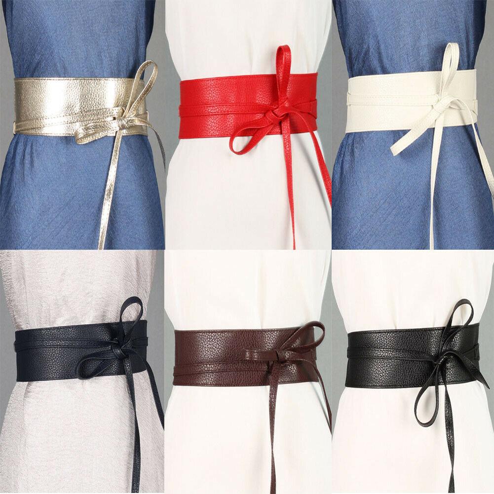 2019 Newest Trendy Solid Belt For Women Soft PU Leather Waistband Self Tie Bow Wrap Around Waist Band Cinch Boho Obi Belt