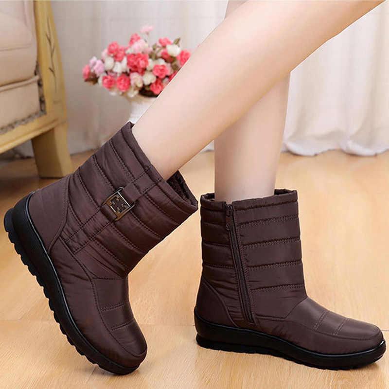 Su geçirmez kadın çizmeler kadın kış botları sıcak kürk platformu çizmeler kadın yarım çizmeler Bota kadın ayakkabı kış ayakkabı kadın patik