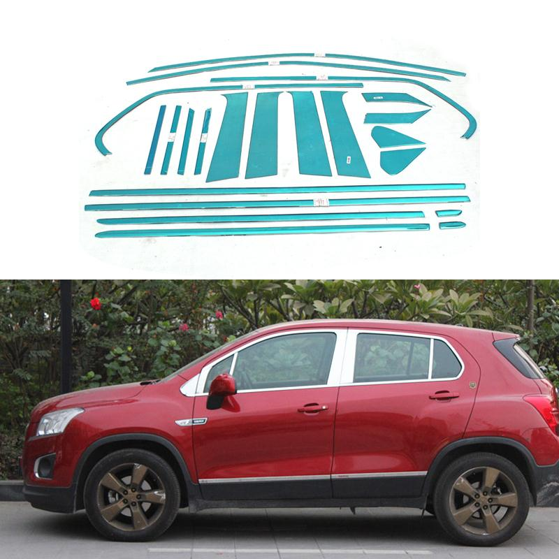 Stainless Steel Car Styling Full Window Trim Decoration Strips For Chevrolet Trax 2013 2014 2015  Accessories OEM-14-22 high quality stainless steel strips car window trim decoration accessories car styling 16pcs for 2013 2015 kia carens