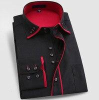 NEW Casual Quality Long Sleeve Plus Size Men Shirt Male Business Double Collar Dress Shirt Men