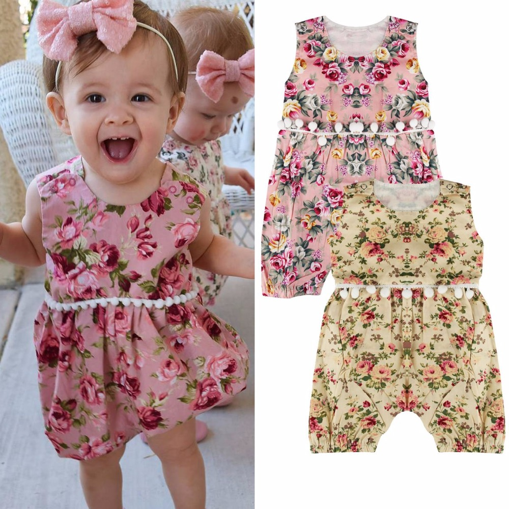 Puseky 2017 Floral Baby Girls   Romper   Lovely Newborn Infant Babes Summer Sleeveless Babies   Rompers   Clothes Outfit Sunsuit 0-24M
