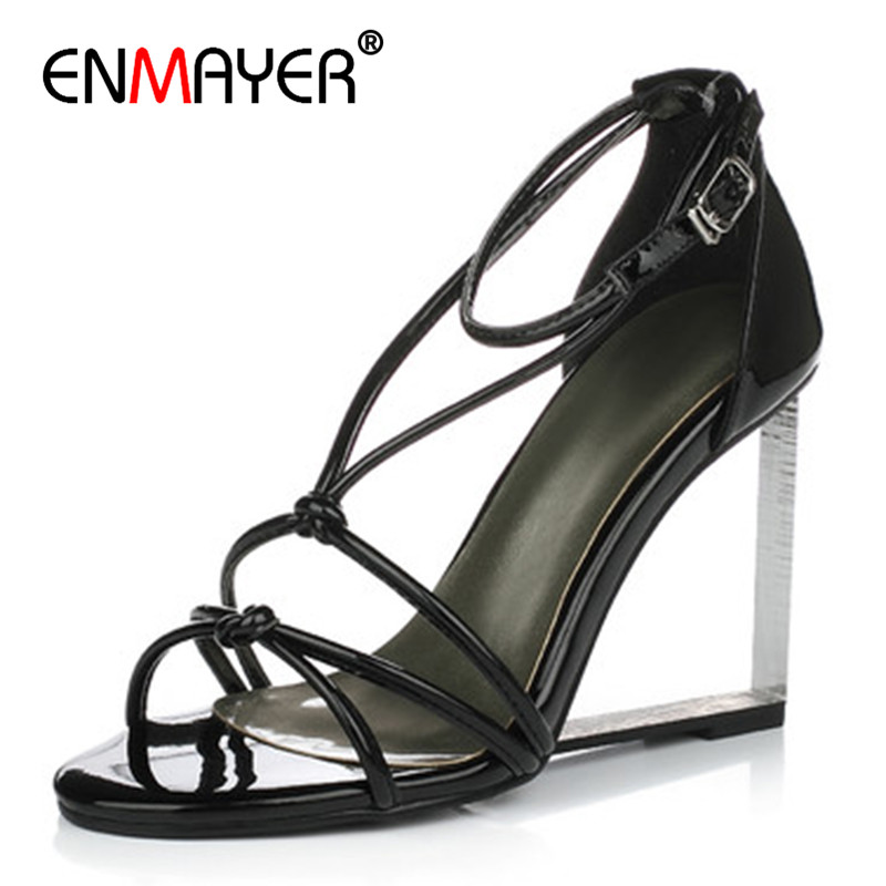 ENMAYER Sexy White Cross-tied Sandals Summer Transparent High Heels Shoes Woman Gladiator Dress Sandals Womens Shoes Wedges enmayer cross tied shoes woman summer pumps plus size 35 46 sexy party wedding shoes high heels peep toe womens pumps shoe