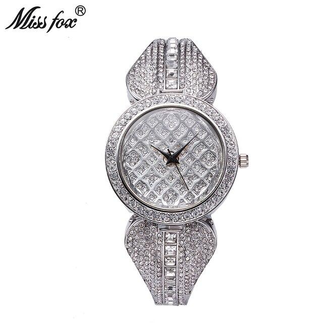 d6696825bcfc MISSFOX Silver Ladies Watch Diamond For Ladies Designer Watches Luxury  Watch Women 2017 Fashion Black Female Cheap Watches China