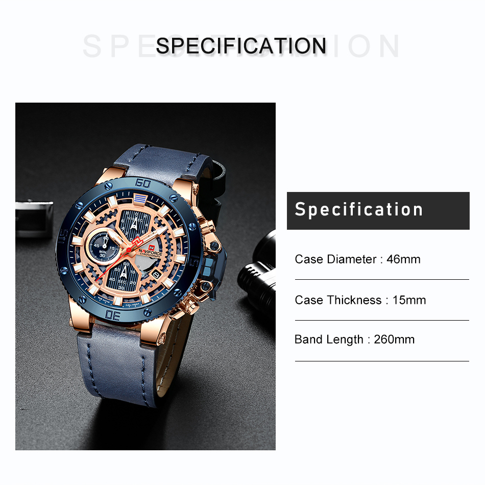 NAVIFORCE New Luxury Chronograph Watches Military Quartz Watch For Men Leather Waterproof Wristwatches Male Relogio Masculino (3)