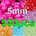 Promoção! 500 pcs 5 mm pérola Multicolors resina ABS metade rodada pérolas de imitação Flatback para DIY jóias Y3596