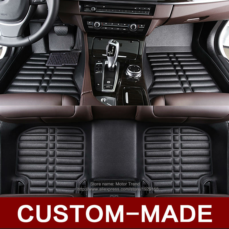 Custom fit car floor mats for Audi A7 A3 A4 A6 A8 Q3 Q5 Q7 environmental car-styling leather accessories rug liners genuine leather car steering wheel cover for audi a4l a6l a3 q3 q5 q7 car accessories styling