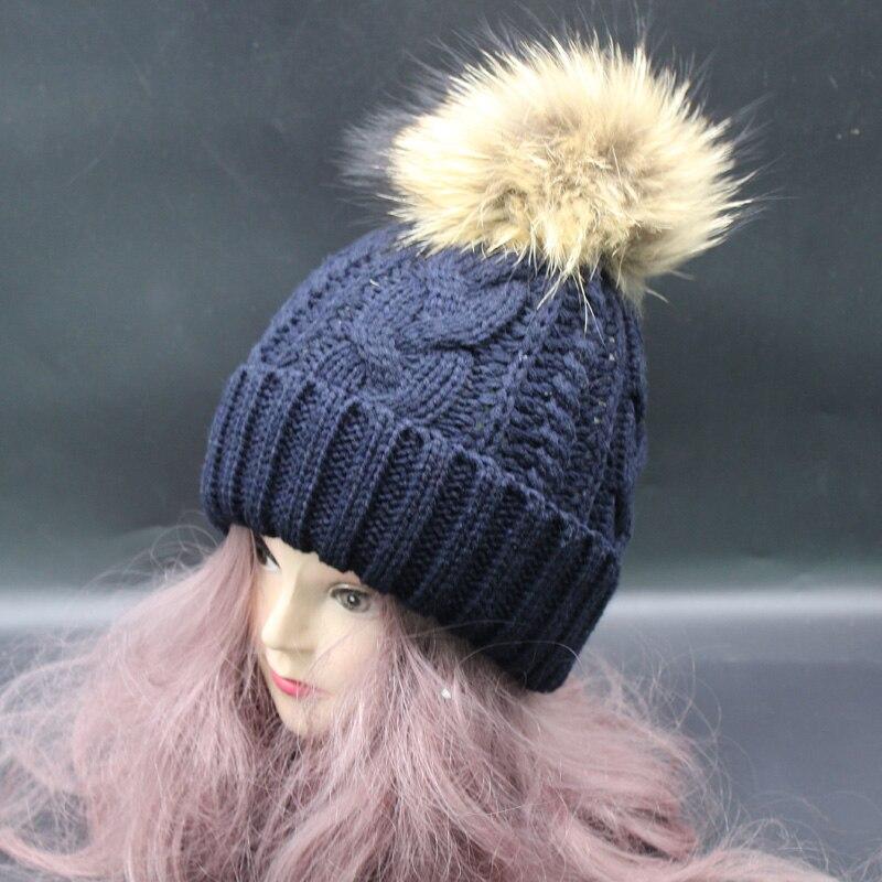 2019 New Winter Beanie Cap Frauen Echt Waschbär Pelz Pompon Hut Dick - Bekleidungszubehör - Foto 5