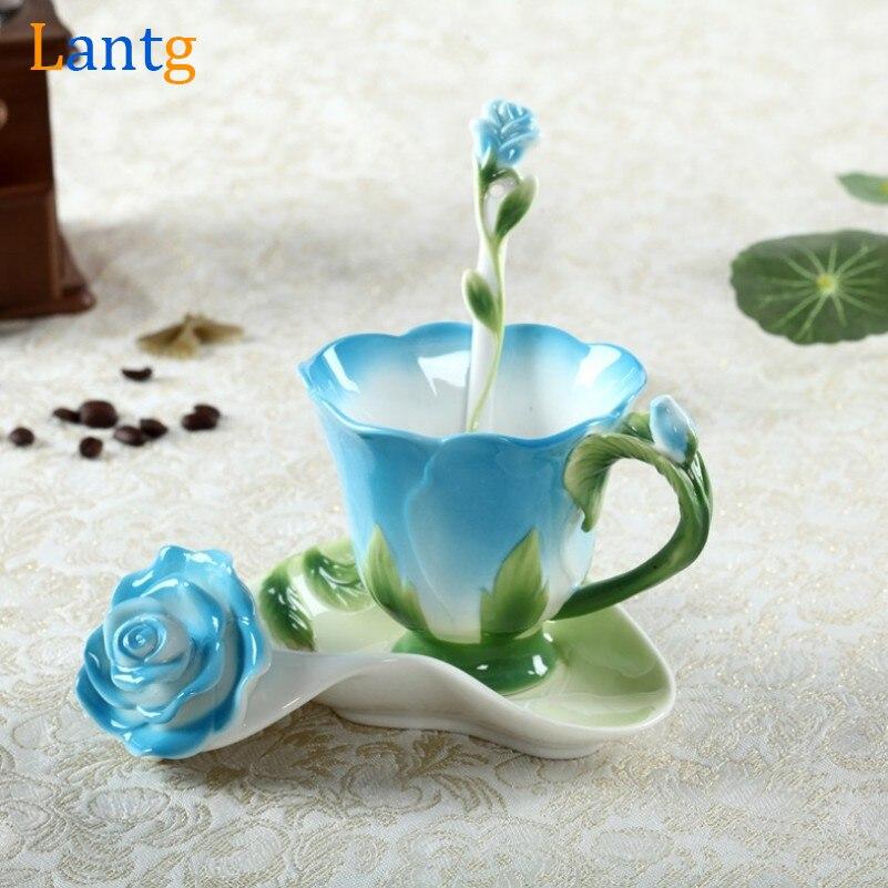 3D Розовая эмалированная кофейная кружка, Набор чашек для чая, молока с ложкой и блюдцем, оригинальная керамическая Европейская костяная кит...