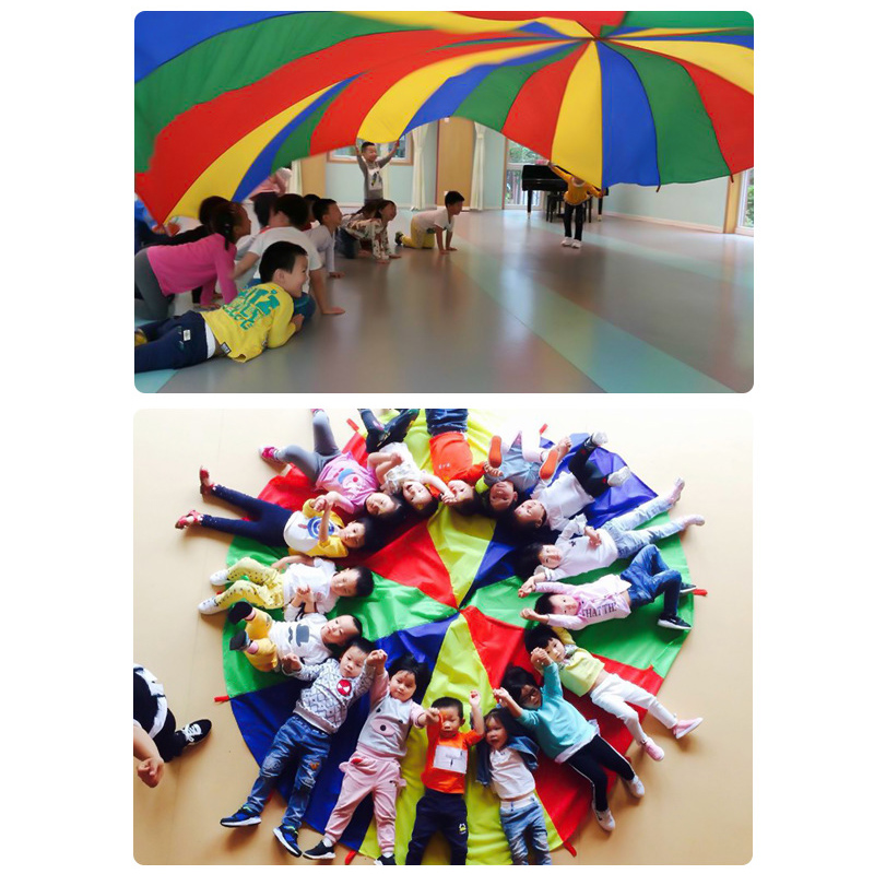Kids Parachute Toy With Handles Play Parachute Tent Mat Cooperative Games Birthday Gift LKS99
