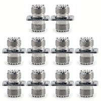 Areyourshop Sale 10Pcs Adapter UHF Female To SO239 Jack 25.4mm Flange Panel Mount RF Connector F/F