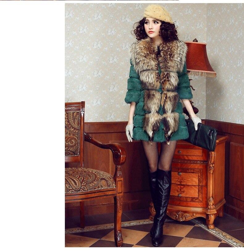 Pelt Ganz Kaninchen Für Waschbären Lange Medium schwarzes Natürliche Rot Große Jacke Frauen Mantel F1822 grün Winter Pelz weiß Jacken Kragen Echt AdwEqrd