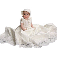 Baby Girl Dress Solid Lace O Neck A Line Short Sleeves Puff Sleeve Style Hot sale New arrival 1 Year Birthday Christening Gowns
