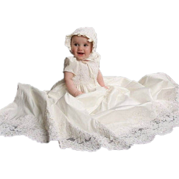 Baby Girl Dress Solid Lace O-Neck A-Line Short Sleeves Puff Sleeve Style Hot sale New arrival 1 Year Birthday Christening Gowns puff sleeve round neck top