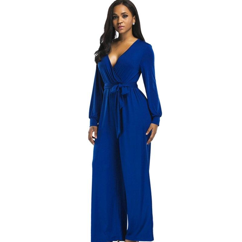 2018 Sexy V Neck Wide Leg Pants Elegant Jumpsuits Romper Blue Long Sleeve Plus Size Tunic Overalls For Women Combinaison Femme