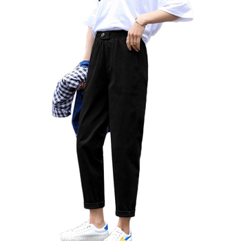 Beige High waist Casual Pants Women loose Spring Autumn 2019 New Women's Korean slim Harem pants Plus Size Nine pants 3XL F279 3