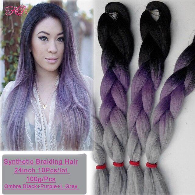 10Pcs Kanekalon Braiding Hair Purple Grey  Synthetic Braiding Hair Extension 24Inch Ombre Kanekalon Braiding Hair Grey Hair