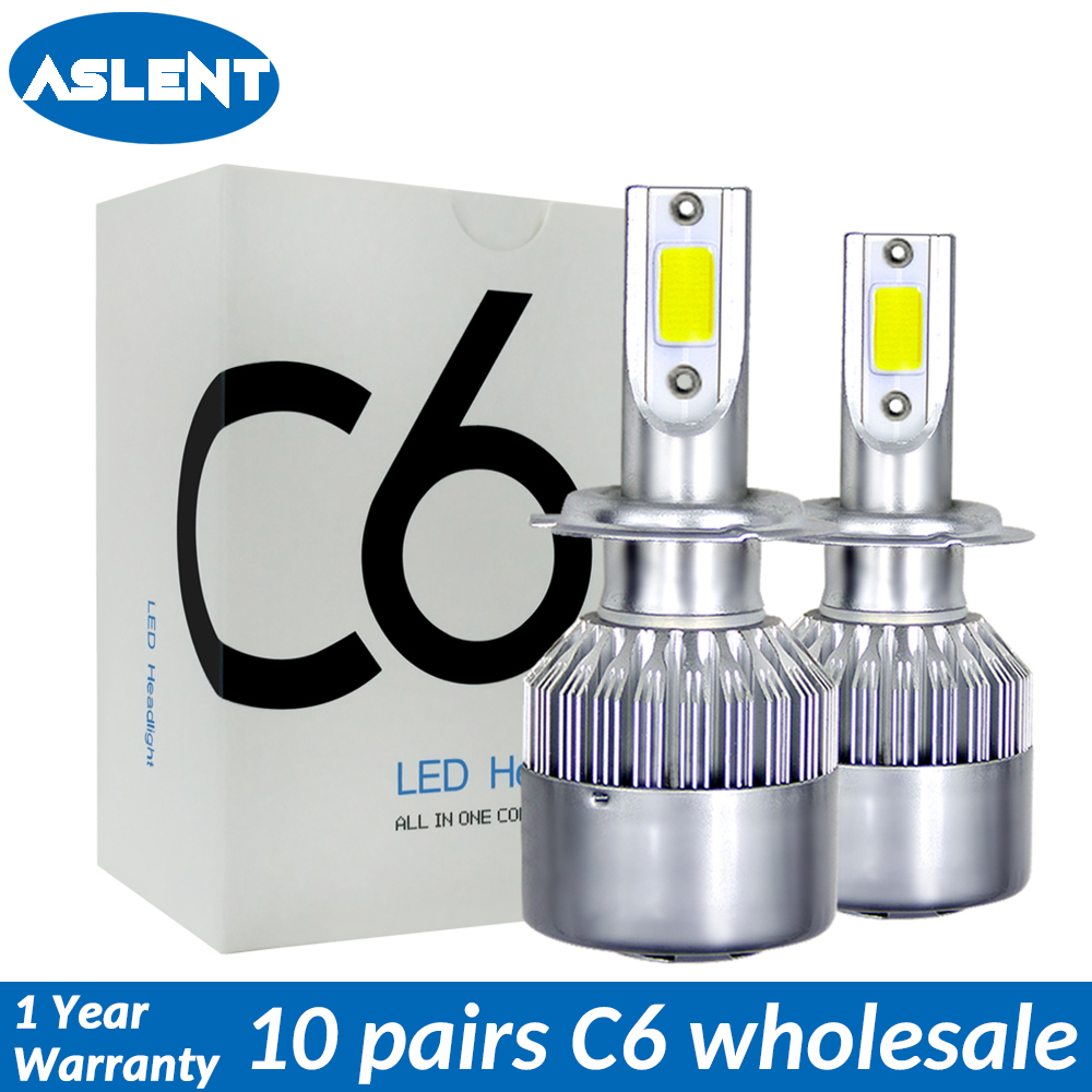 ASLENT 10 pairs/lot C6 Wholesale Car Headlight H7 LED H4 Bulb H1 H3 H11 H8 H9 HB3 9005 HB4 9006 9004 9007 Fog Lights Auto lamp