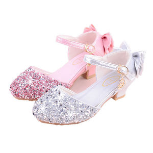 Image 5 - 2019 girls bling 반짝이 bowtie 샌들, 하이힐, kids princess dance performance 여름 신발, 실버 & 핑크, 26 38
