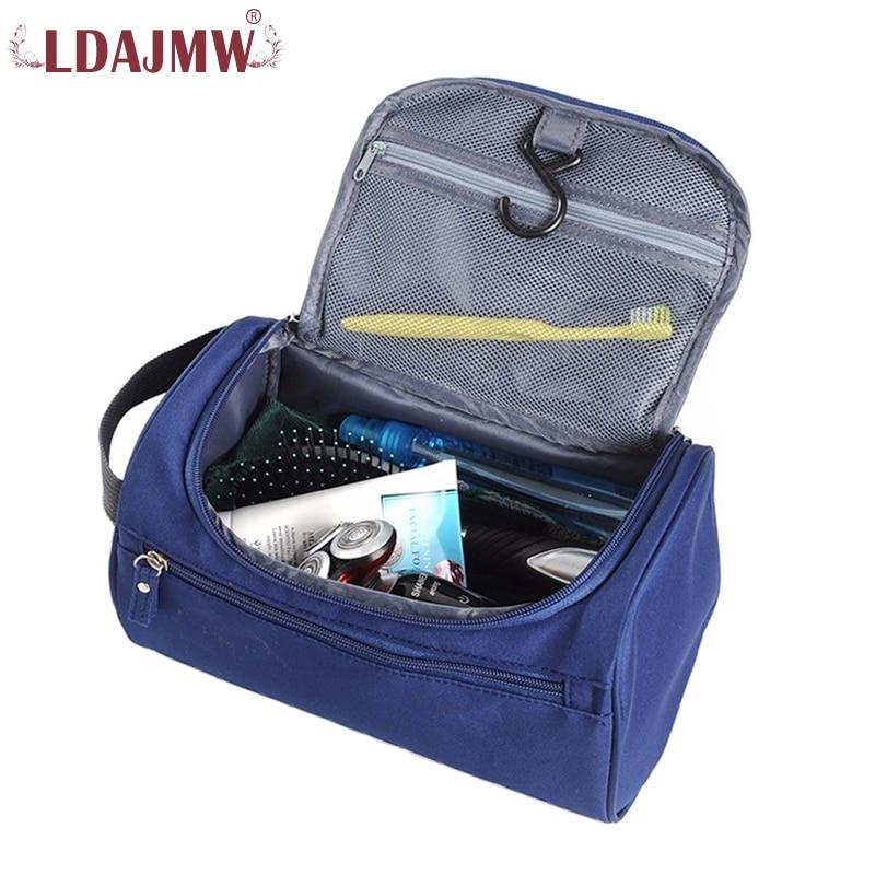 LDAJMW Waterproof Nylon Men Hanging Makeup Bag Travel Organizer Cosmetic Bag Women Necessaries Make Up Case Wash Toiletry Bag