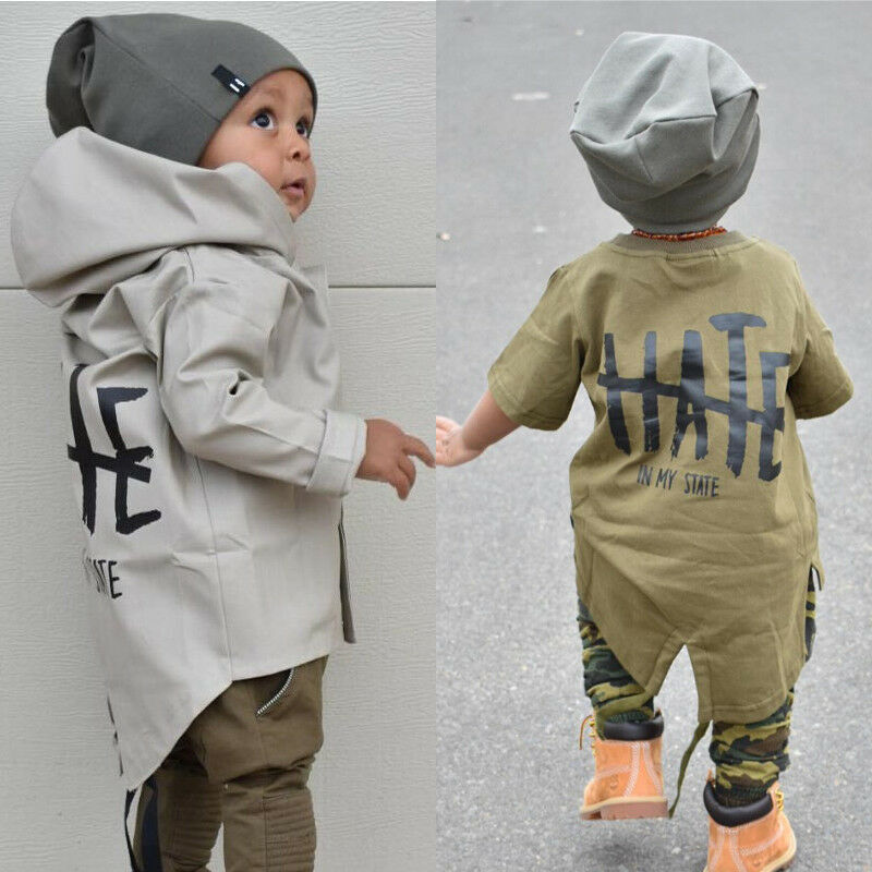 Newborn Baby Boys Kids Windbreaker Outwear Coat Winter Jacket Overcoat Clothes Full Sleeveless Fashionable Printing Letter