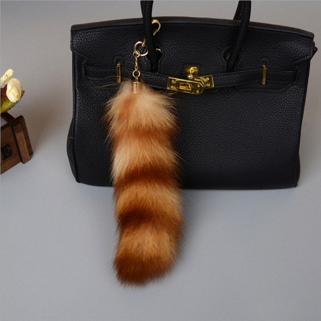 c65192499ecb Large plus size Luxury Genuine Raccoon Fox Tail Keychain Fur Tassel Bag Tag  Car Bag