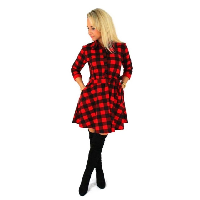 a2499e849c7 Fashion Women Plaid Flannel Short Mini Dress 3 4 Sleeve Shirt Dress Belted  Dresses