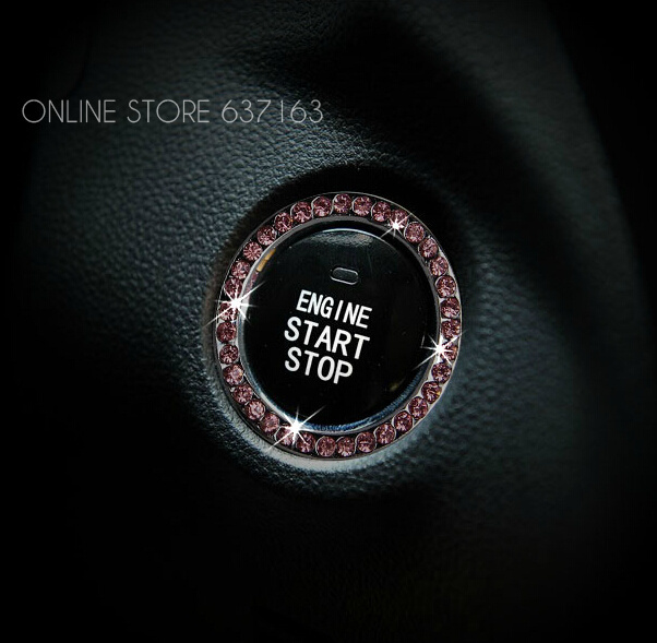 Rhinestone Inlaid Push Start Button Ignition Sticker For