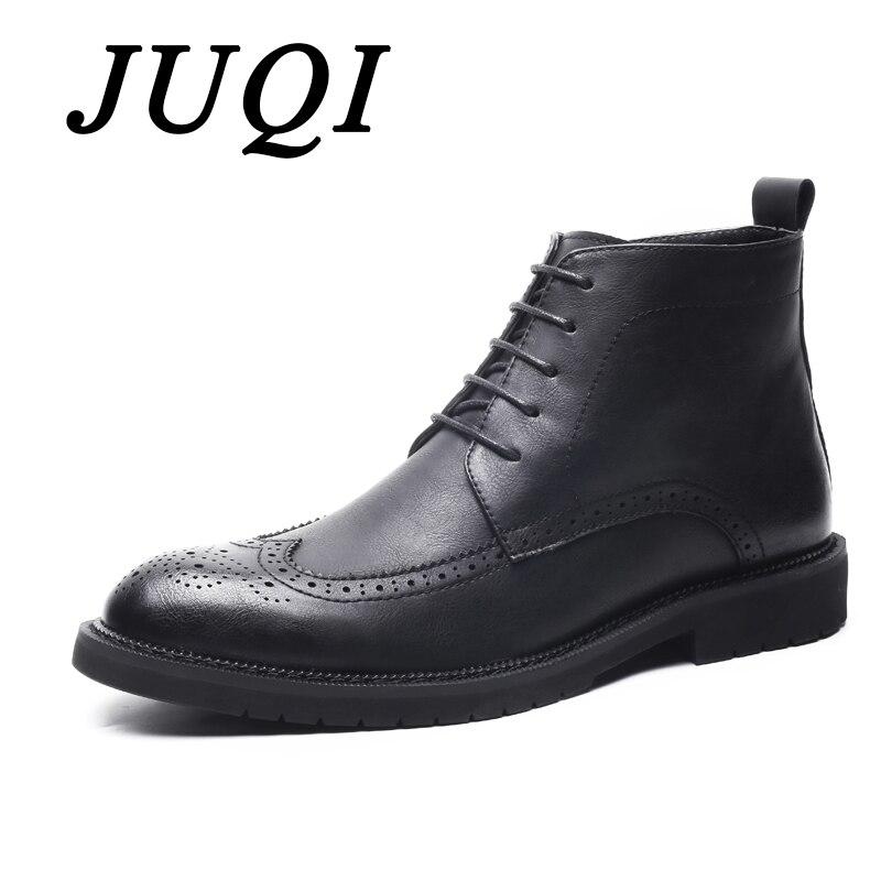 JUQI nouvelle mode bottes Brogue hommes hiver automne chaussures à lacets hommes robe chaussures à la main Busines chaussures