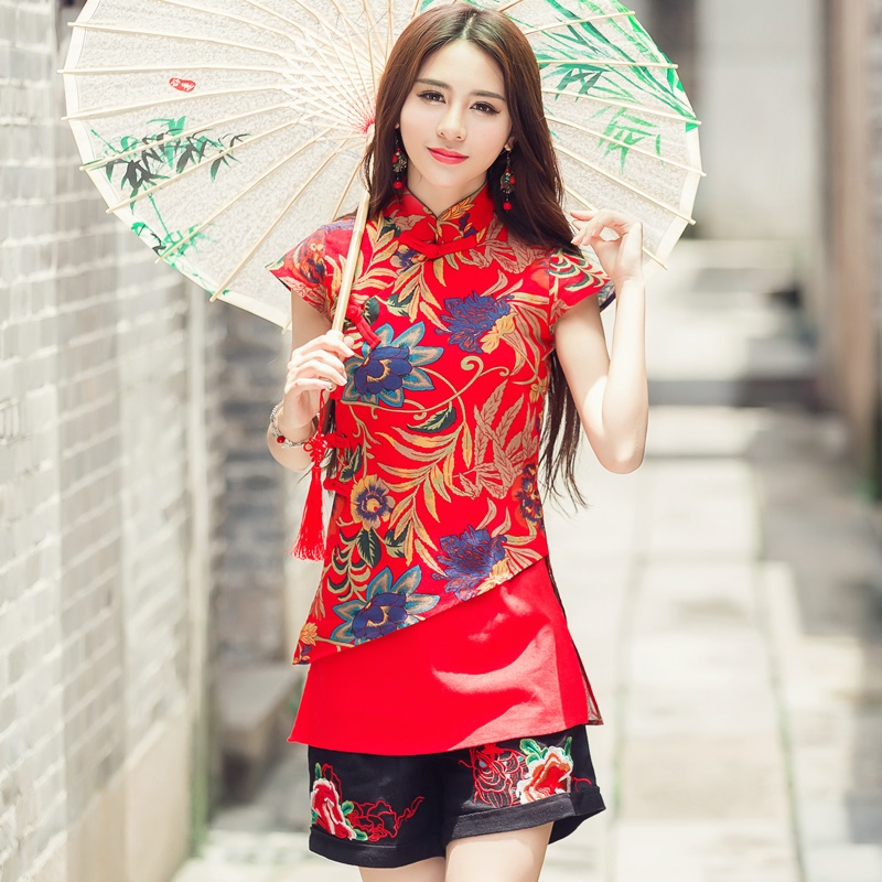 Traditional Chinese Blouse Shirt Tops For Women Mandarin Collar Oriental Linen Shirt Blouse Female Elegant Cheongsam Top TA932