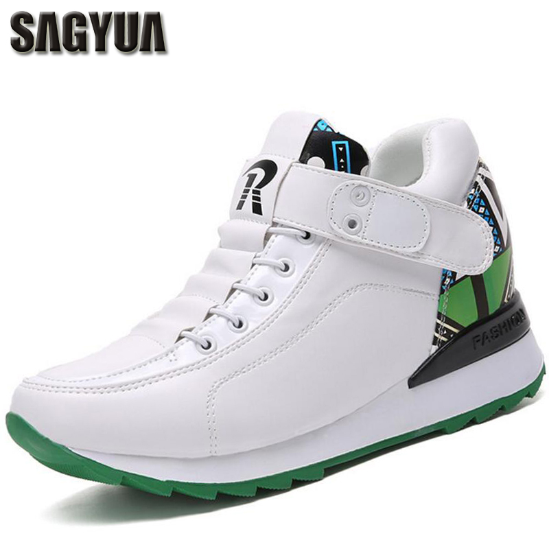 SAGYUA Korean Ladies Women Fashion Casual Wedge Shoes Spring Increased Within Shoes Hook & Loop Zapatos Mujer Leisure Shoes T039