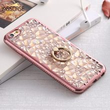 KISSCASE Ring Stand Case For iPhone 6 6s 7 8 Plus Diamond Flower Pattern Cases Phone Holder Back Cover Capa