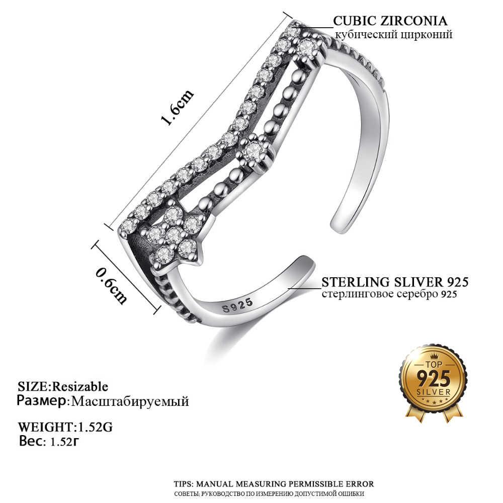 DR charmant creux en argent Sterling 925 anneaux ouverts femelle géométrique scintillant zircone fleur forme Fine bijoux amoureux cadeau