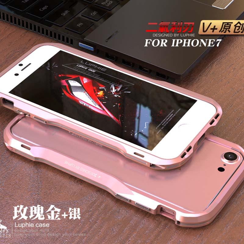 bilder für Ursprüngliche LUPHIE Aluminium Metallrahmen Dual Color Bumper Abdeckung für iphone 7 Luxus Metall Fällen Für iphone 7 plus Fall JS0304