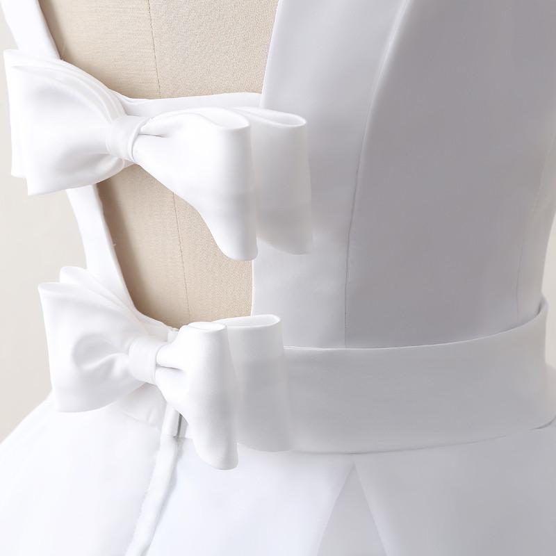 Simple Cheap Short Wedding Dresses 2017 White Knee-Length Wedding Bridal Gowns Sleeveless Scoop Neck Bow Back Robe De Mariage 8
