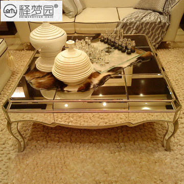 Mirror Mirror Glass Coffee Table Coffee Table Champagne Continental Neo Classical Furniture