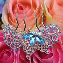 Свадебные Аксессуары Для Волос Свадебный Горный Хрусталь Кристаллы Цветок Бабочка Волосы Комбс Головные Уборы Для Женщин Девочек
