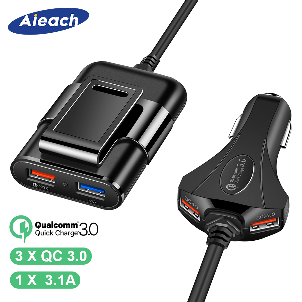 Aieach Front / Back Seat 4 Port USB Quick Charge 3.0 Car Charger For iPhone Huawei 60W 12A Fast Phone Charger For Xiaomi SamsungAieach Front / Back Seat 4 Port USB Quick Charge 3.0 Car Charger For iPhone Huawei 60W 12A Fast Phone Charger For Xiaomi Samsung