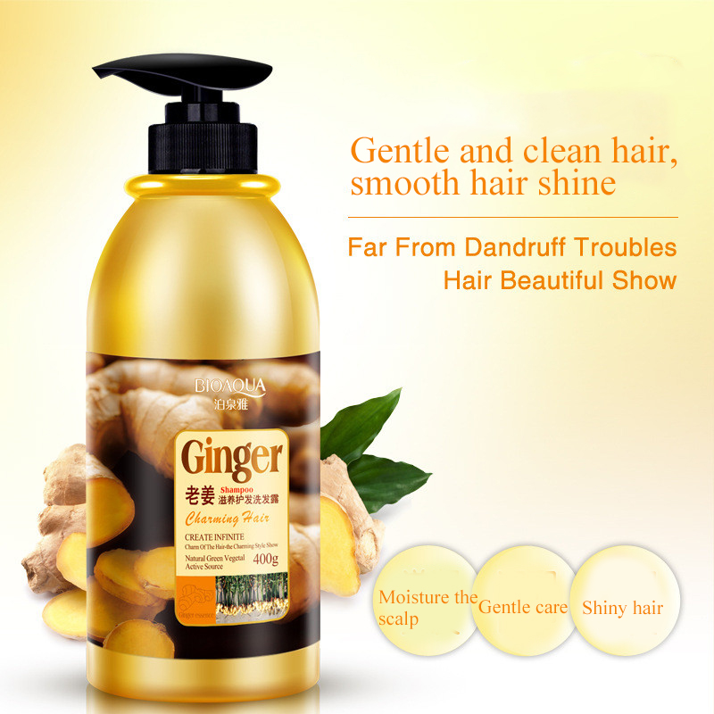 Herbal Ginger Hair Shampoo No Silicone Oil Oil Control Anti Dandruff Itching Cleansing Professional Hair & Scalp Treatment 400ml 4