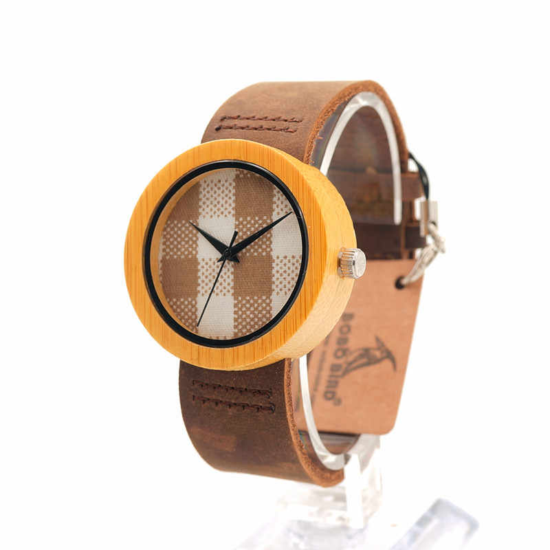 BOBO pájaro señoras reloj movimiento de cuarzo con correa de cuero mujer reloj de pulsera en caja de regalo erkek kol saati