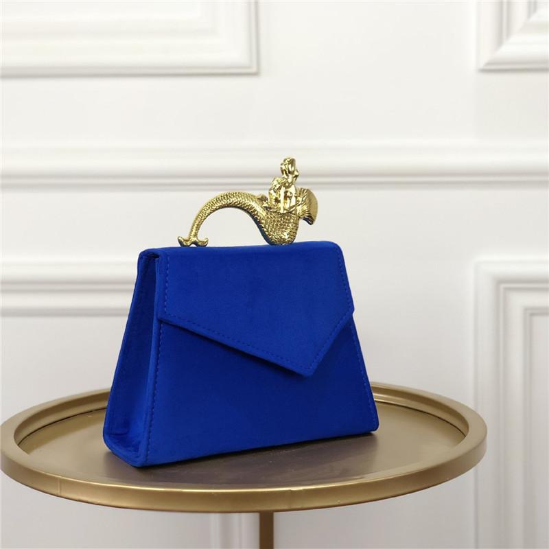Vintage limited velvet suede handbag handle organ shoulder bag Retro small flap square Messenger Crossbody Shoulder bag Autumn