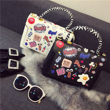 2016 Hot Sale Single Cell Phone Pocket New European Small Fragrant Bag All-match Spoof Badge For Graffiti Shoulder Messenger