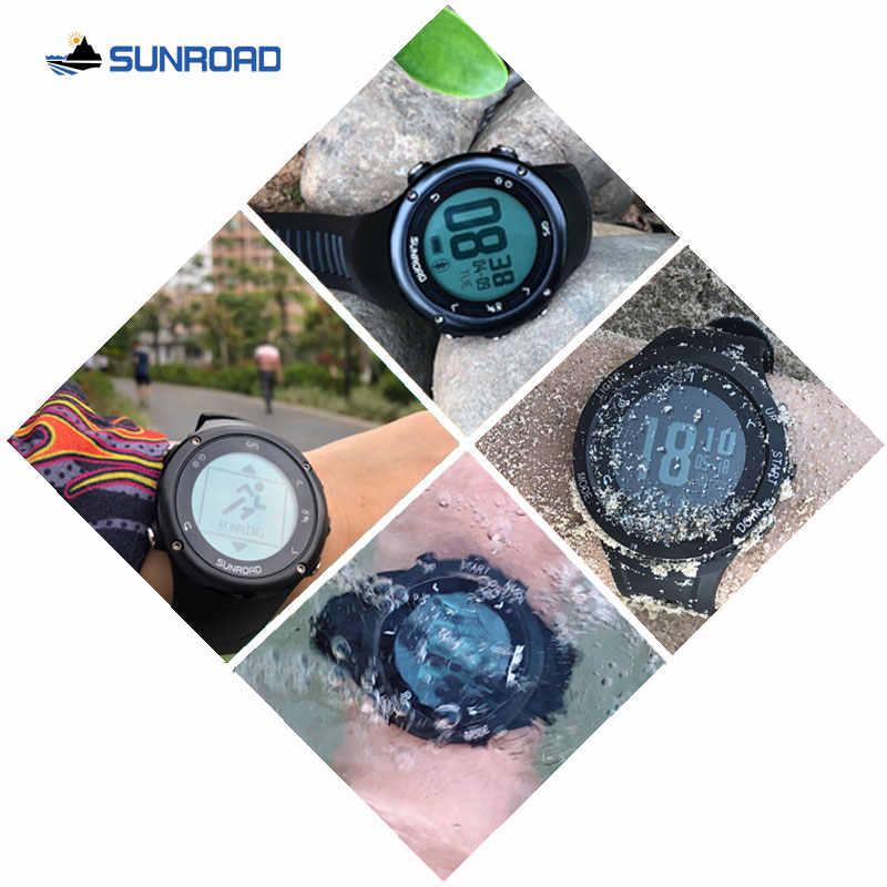 Sunroad inteligente gps freqüência cardíaca relógio digital masculino com 50m carga usb à prova dwaterproof água correndo caminhadas joggling relógio de pulso