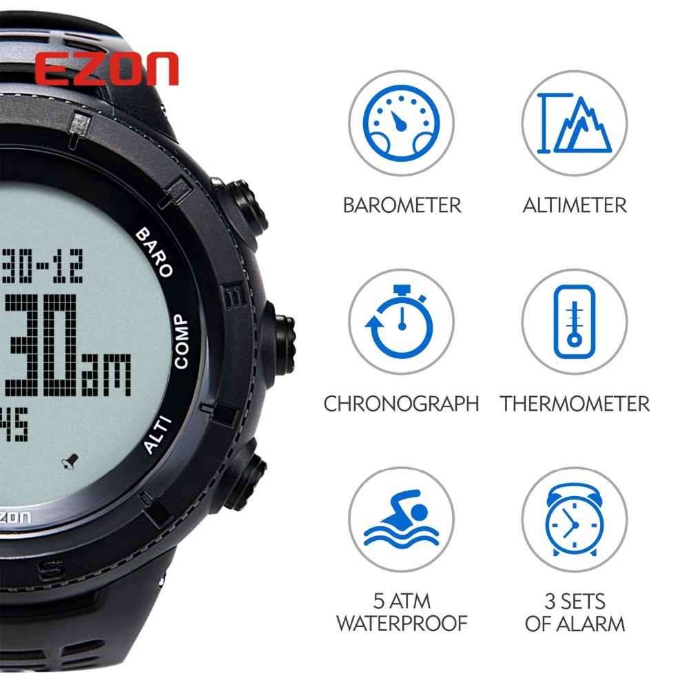 Image 3 - New EZON Multifunctional Hiking Watch Mens Sport Digital Watch  Hours Altimeter Barometer Compass Thermometer Climing  Wristwatchwristwatch digitalwristwatch menswristwatch compass -