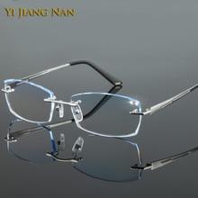Yi Jiang Nan Brand Fashion Rimless Titanium Eyeglasses Male Tint Lenses Prescription Eyeglass for Men