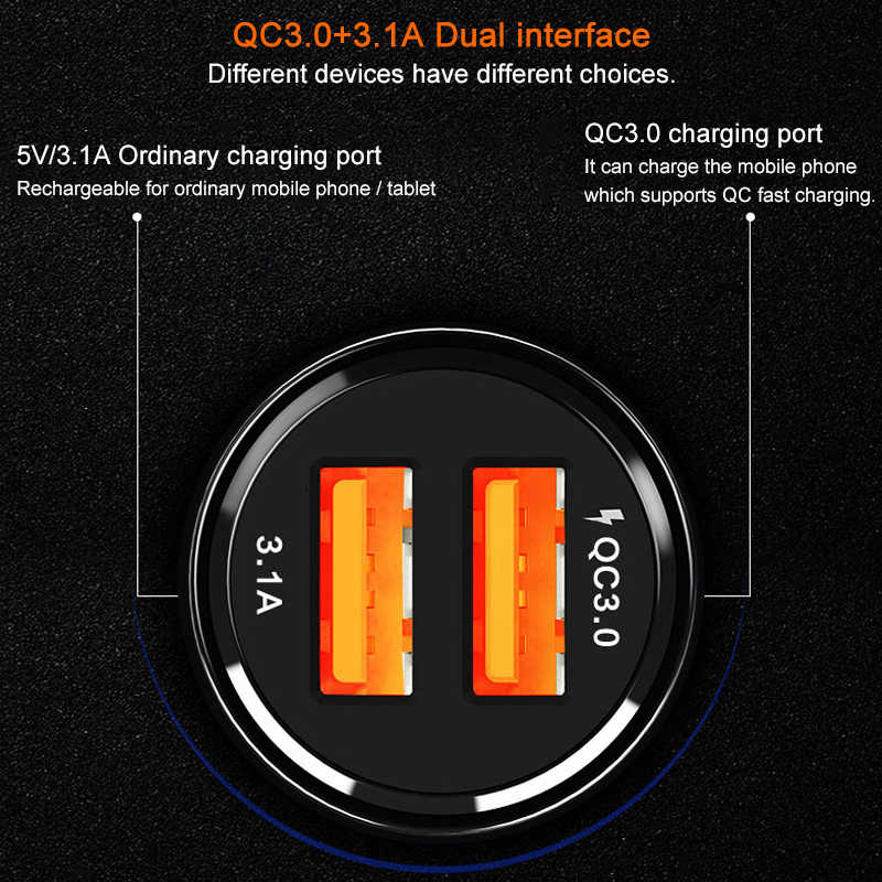 3.1A 2ports USB Car Charger Quick Charge 3.0 Phone Car cigarette lighter for Samsung Xiaomi Iphone X 7 Car Phone Charging cable