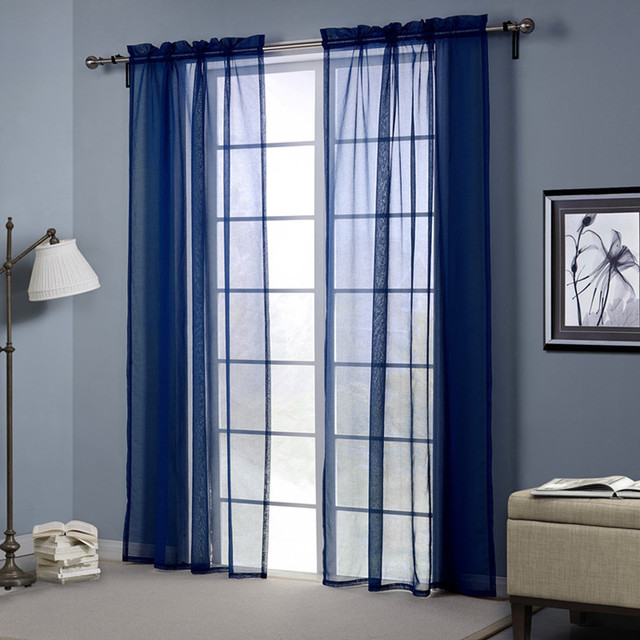 Navy Blue Sheer Curtains For Living Room Tulle Window Curtain Bedroom Drapes Kitchen Rod