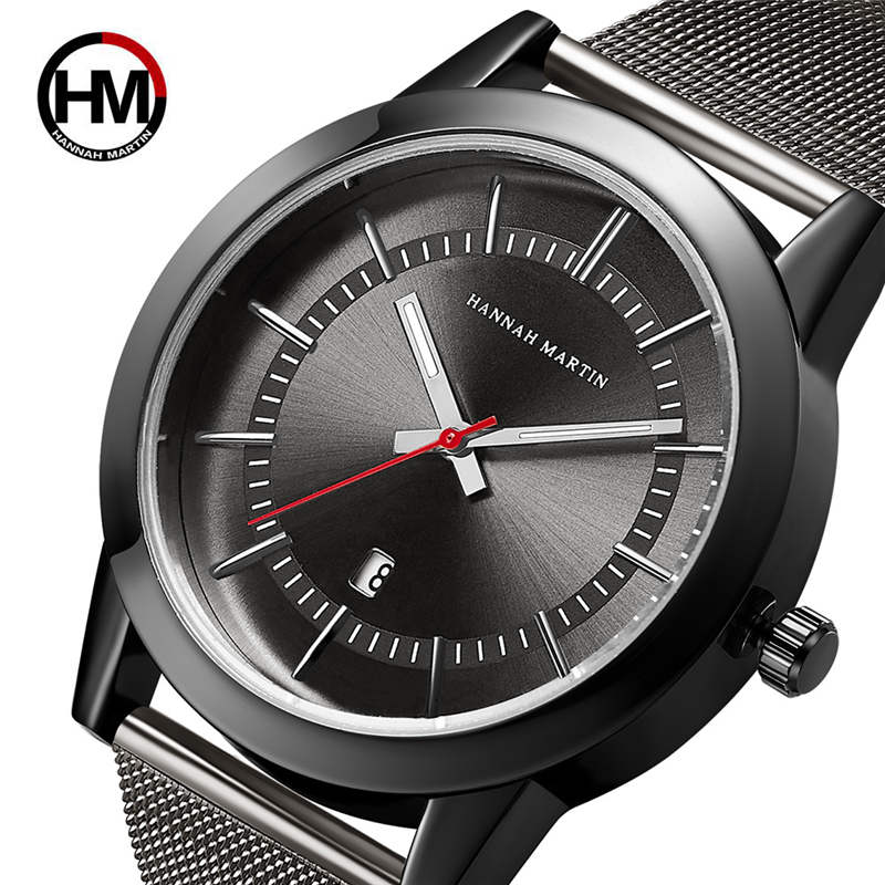 лучшая цена Male Stainless Steel Watch Luxury Brand Watches Men Business Calendar Clock Man Hannah Martin Wristwatch High Grade Quartz Hour