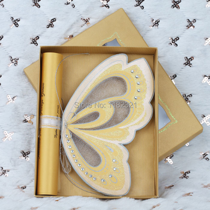 Yellow Gold Scroll Butterfly Wedding Birthday Invitation With